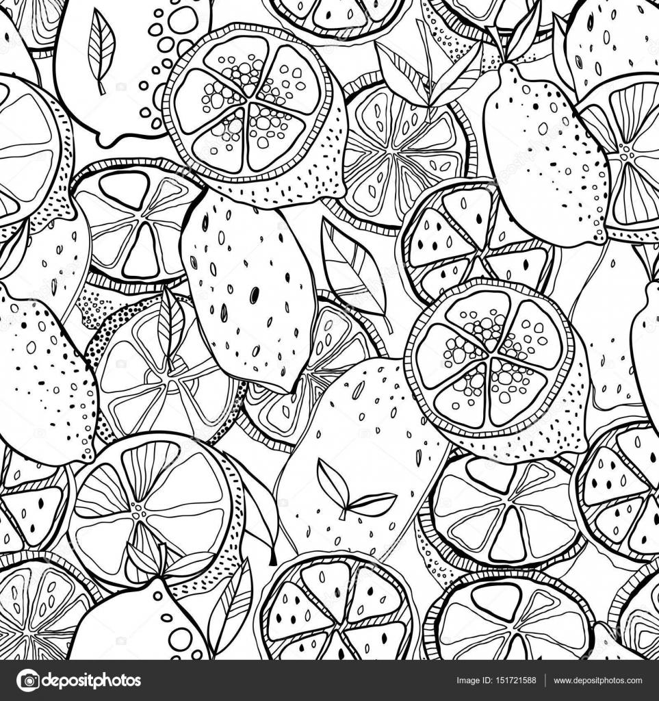 Limones para libros para colorear en blanco y negro. Sin fisuras ...