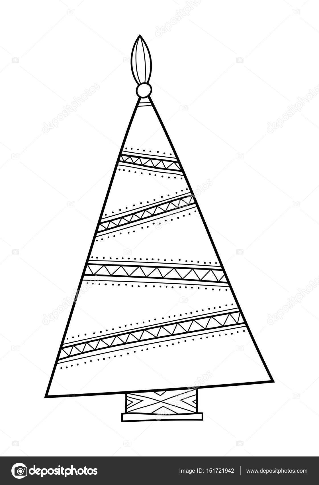 Árbol de Navidad con patrones decorativos. Blanco y negro ...