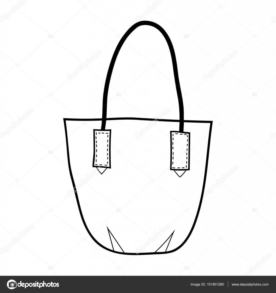 Bolsa de. Accesorio de moda. Ilustración blanco y negro para