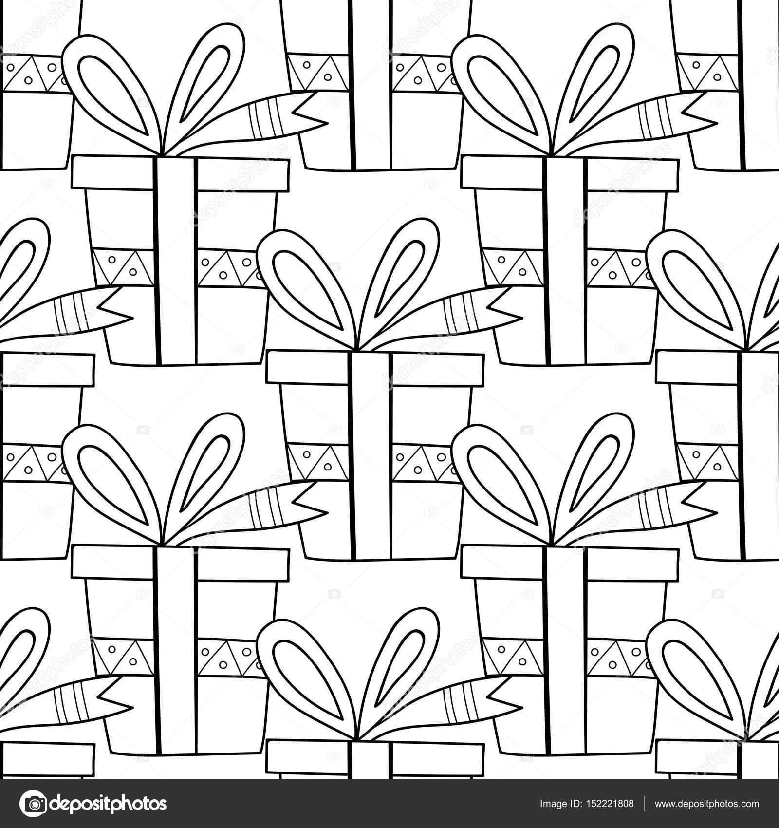 Blanco y negro sin costura patrones con cajas de regalo para ...