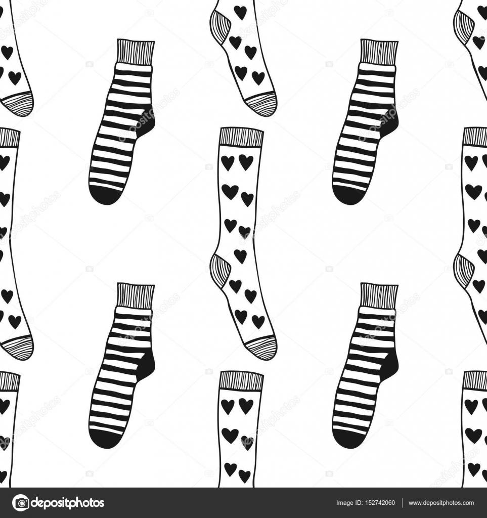 Dekoratif Doodle çorap Boyama Kitabı Sayfa Için Seamless Modeli