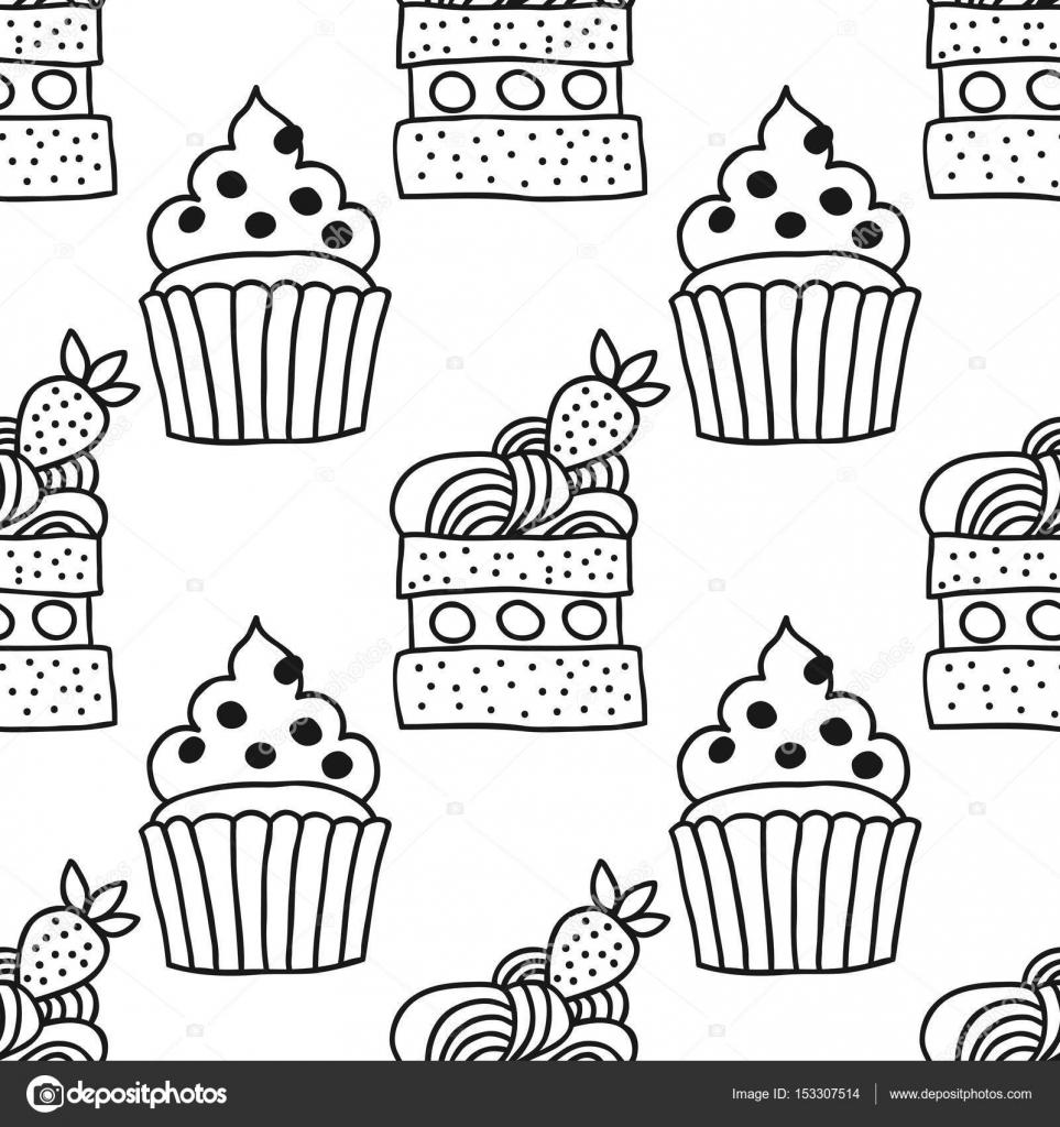 şekerli Tatlı Illüstrasyon Siyah Ve Beyaz Boyama Kitapları Için Kek