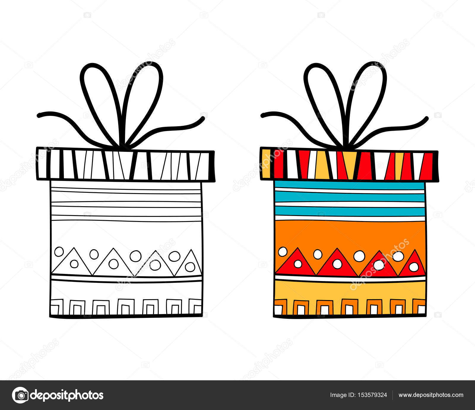 Black And White Gift Box For Coloring Book Packaging Festive