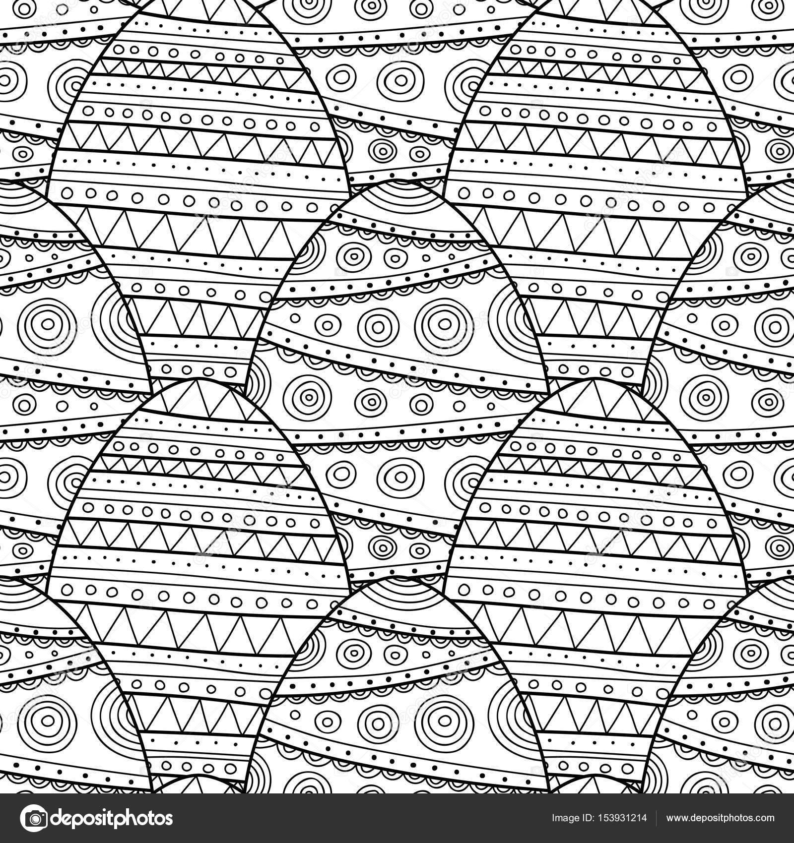 Huevos de Pascua decorativos. Blanco y negro de patrones sin fisuras ...