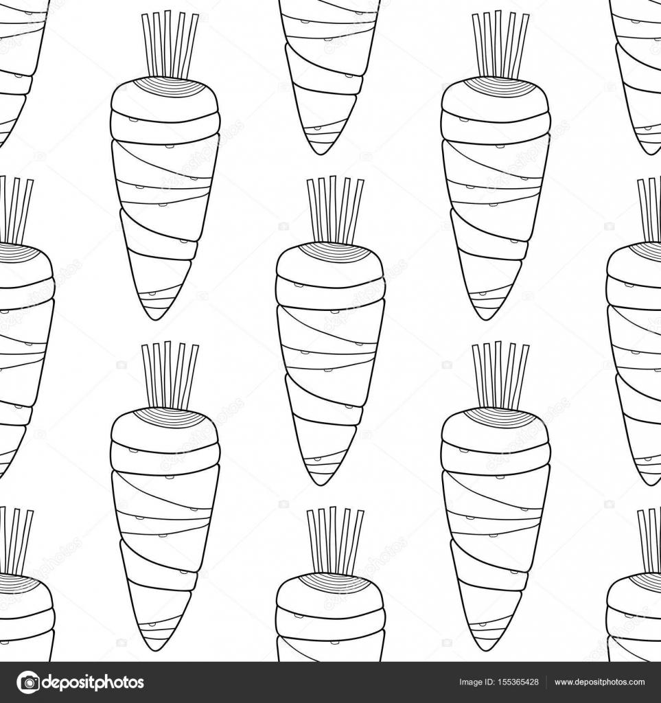 Siyah Ve Beyaz Havuç Boyama Kitapları Için Seamless Modeli Doodle