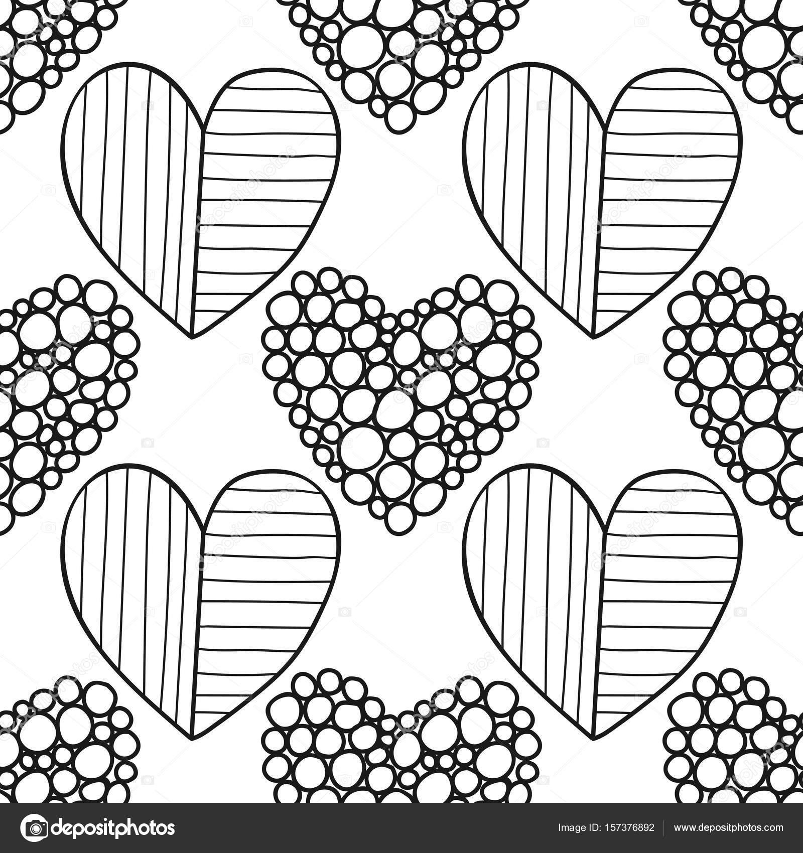 Blanco y negro de patrones sin fisuras con corazones decorativos ...