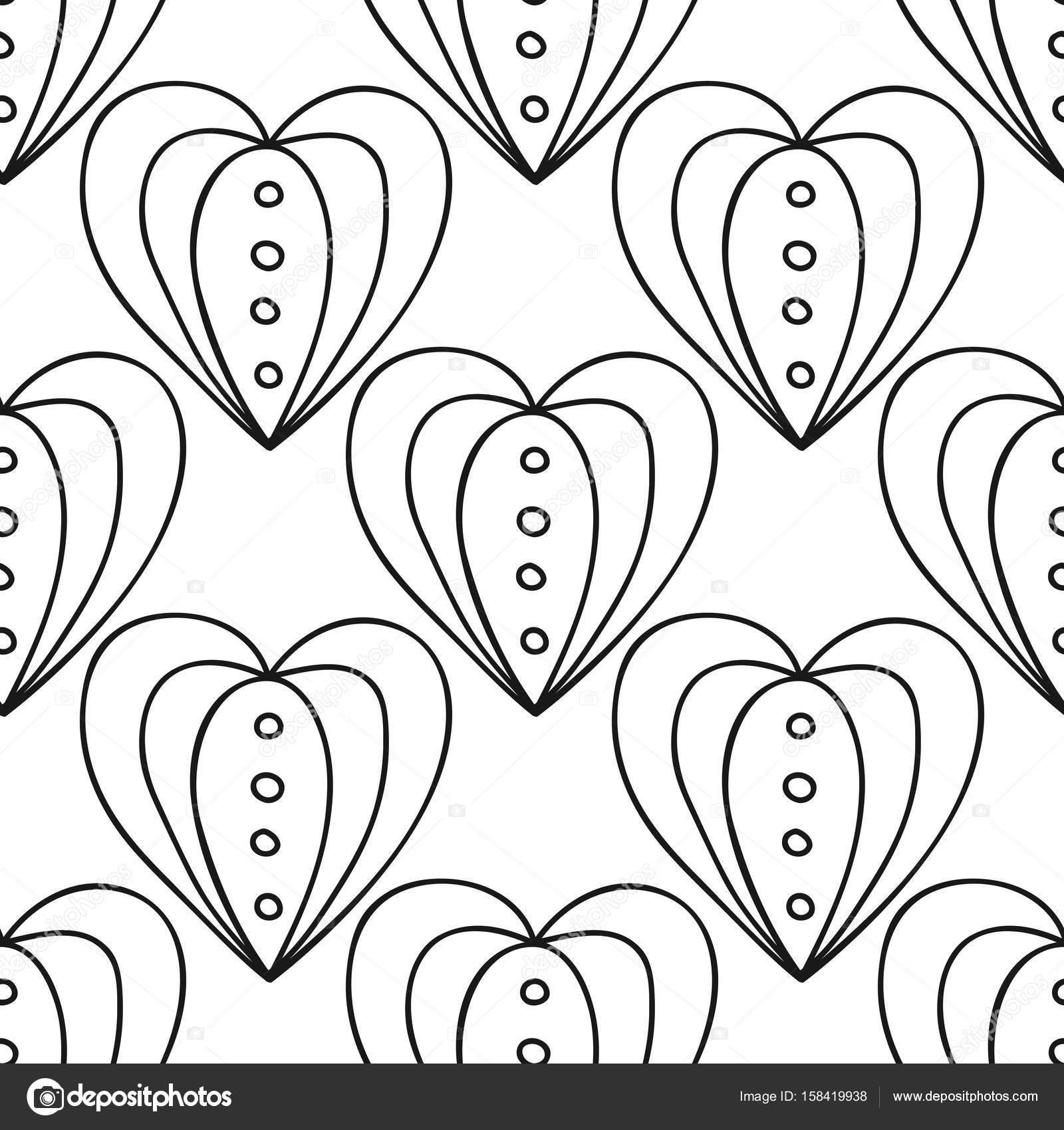 Dekoratif Kalpler Siyah Ve Beyaz Sorunsuz Illüstrasyon Boyama