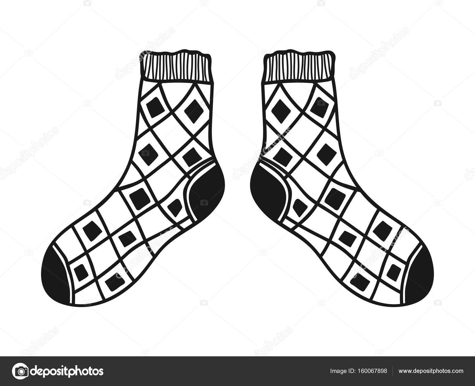 Doodle Socken. Schwarz und weiß-Abbildung für Malbuch, Seiten ...