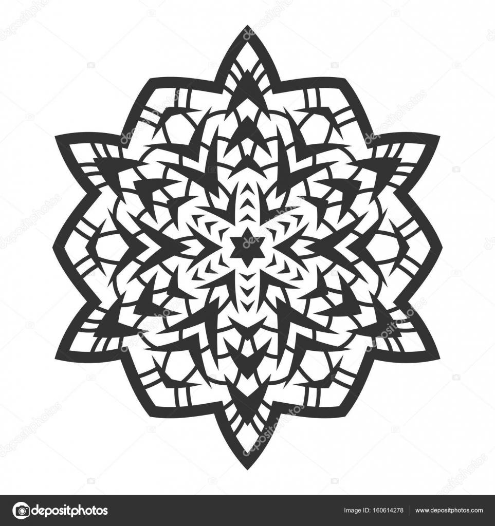 Silueta negra de un copo de nieve. Decoración, ornamento redondo y ...