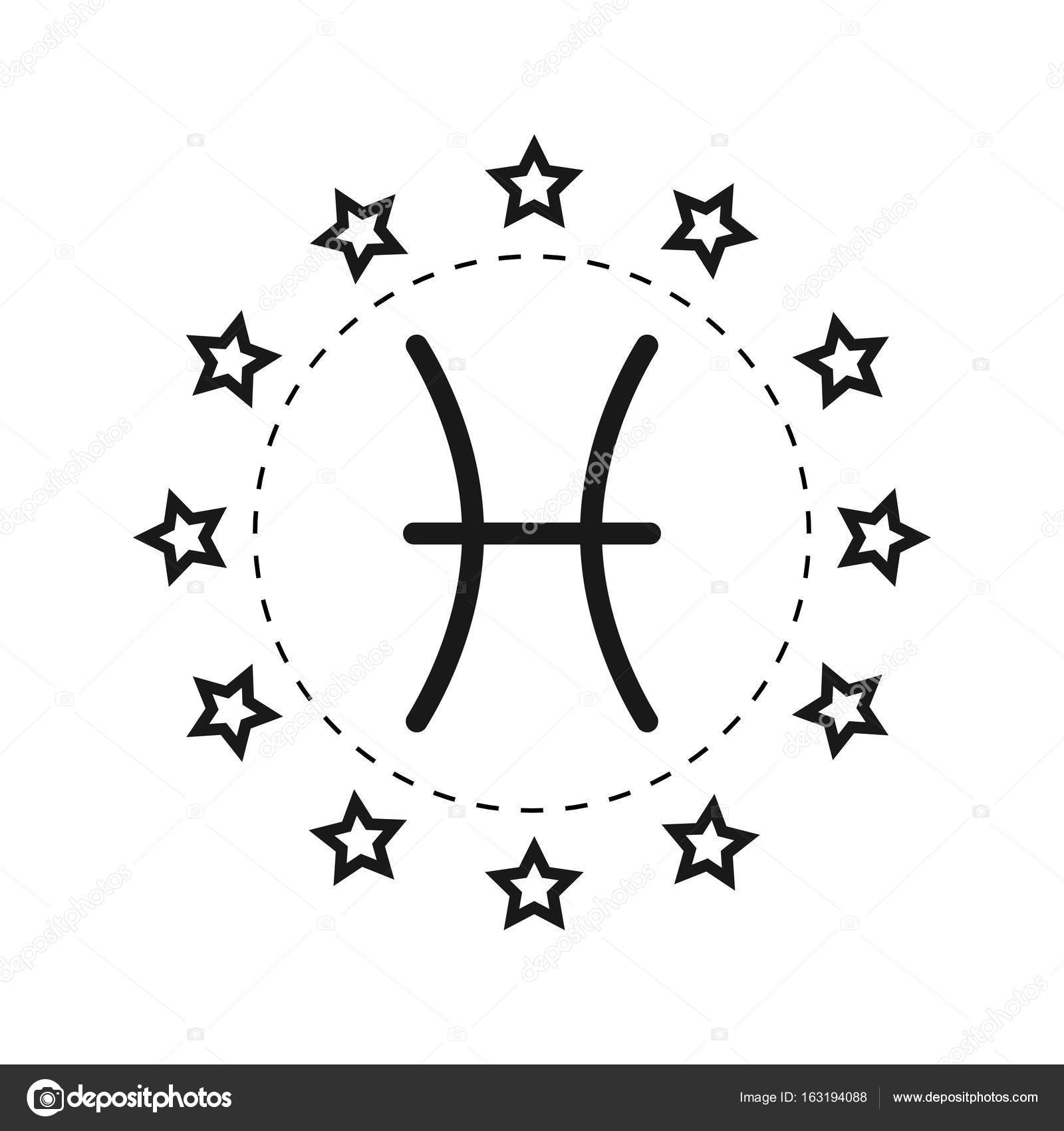 Pisces Sign Of The Zodiac Flat Symbol Horoscope And Predictions Vector Object