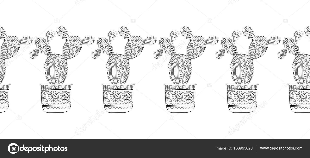 Cactus, suculentas. Blanco y negro ilustración de libros, páginas ...