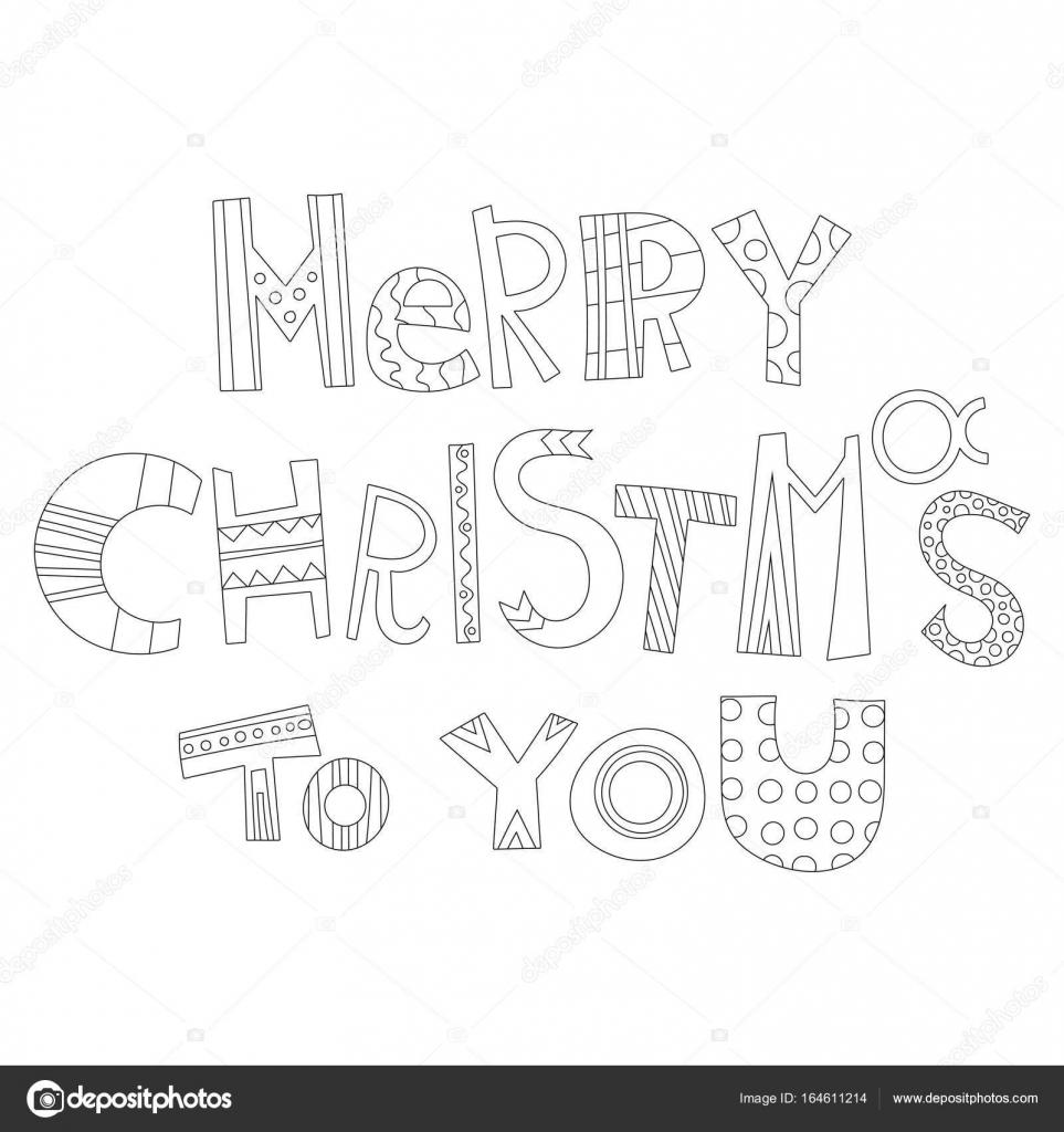 Frohe Weihnachten Schriftzug Zum Ausmalen.Schwarz Weiß Weihnachtsgrüße Für Malbuch Karten Dekorative