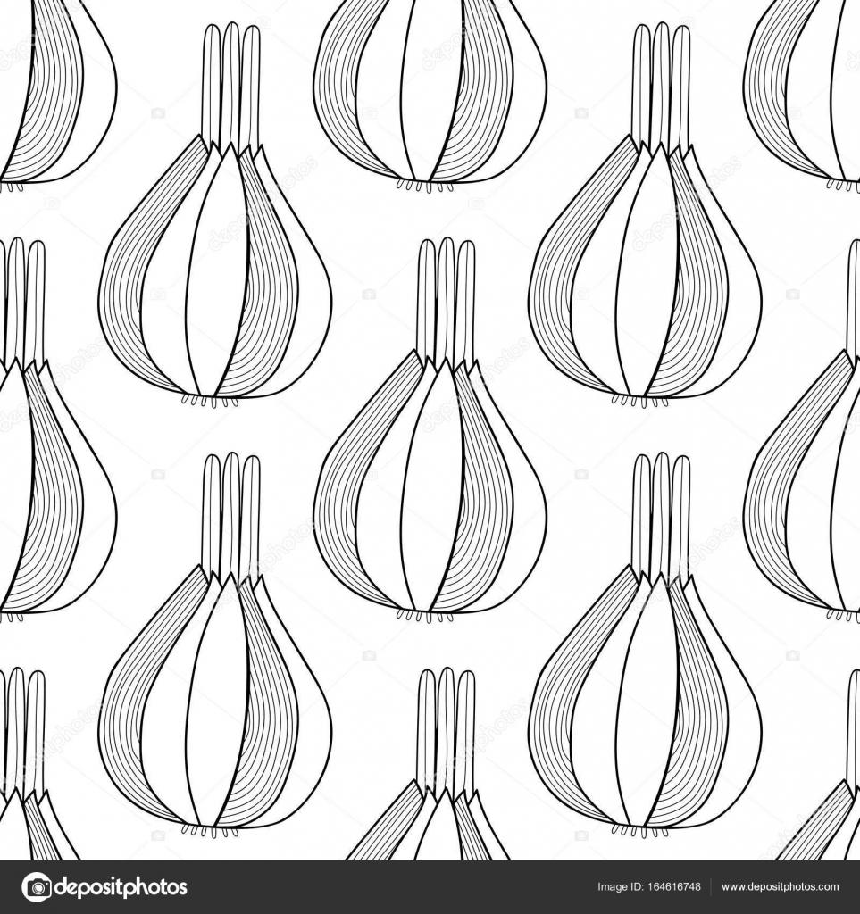 Soğan Siyah Ve Beyaz çizim Boyama Kitabı Sayfaları Için Seamless