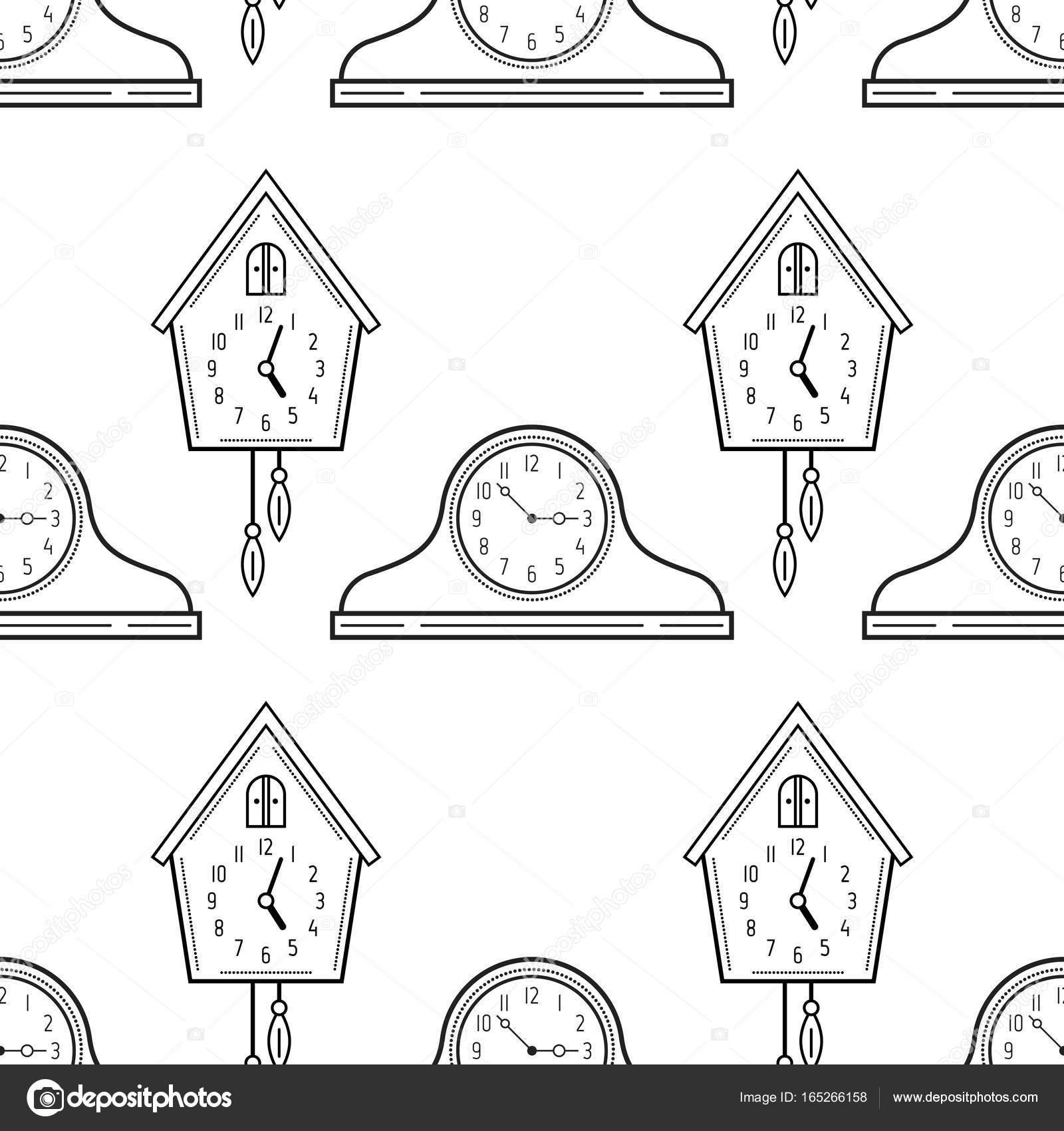 Relojes De Repisa De La Chimenea Y El Reloj De Cuco Blanco