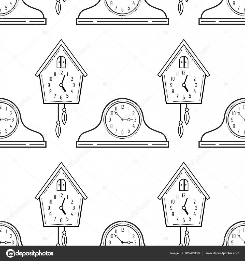 Schoorsteenmantel Klokken En Koekoeksklok De Naadloze Patroon Zwart