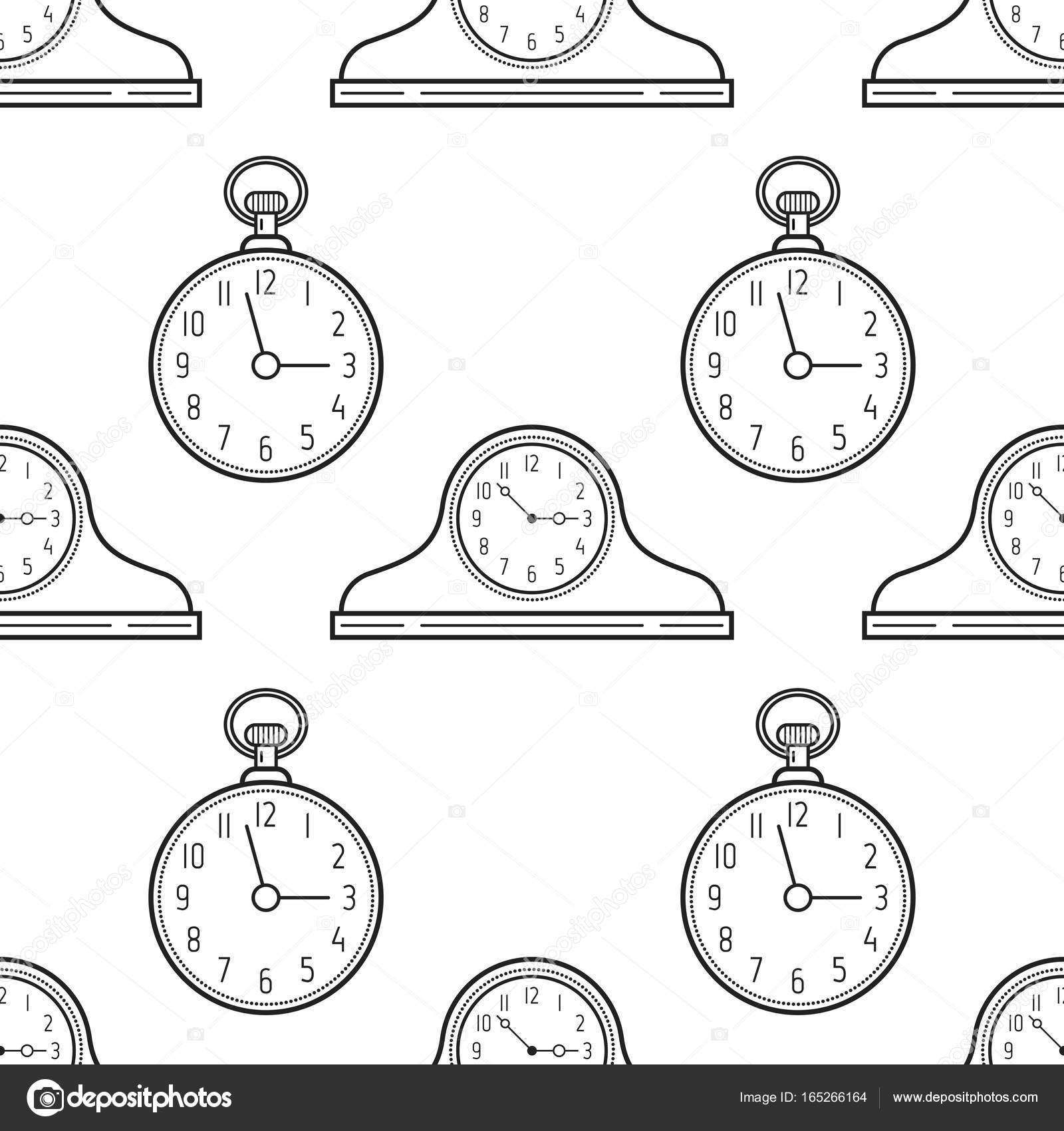 Relojes de repisa de la chimenea y reloj de bolsillo. Blanco y negro ...