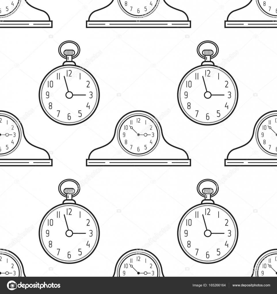 Gratis Kleurplaten Klokken.Schoorsteenmantel Klokken En Zakhorloge De Naadloze Patroon Zwart