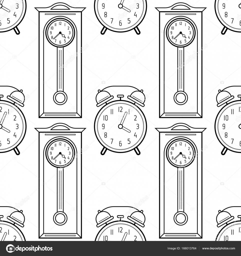 Dedesi Saat Ve çalar Saat Boyama Kitapları Sayfaları Için Seamless