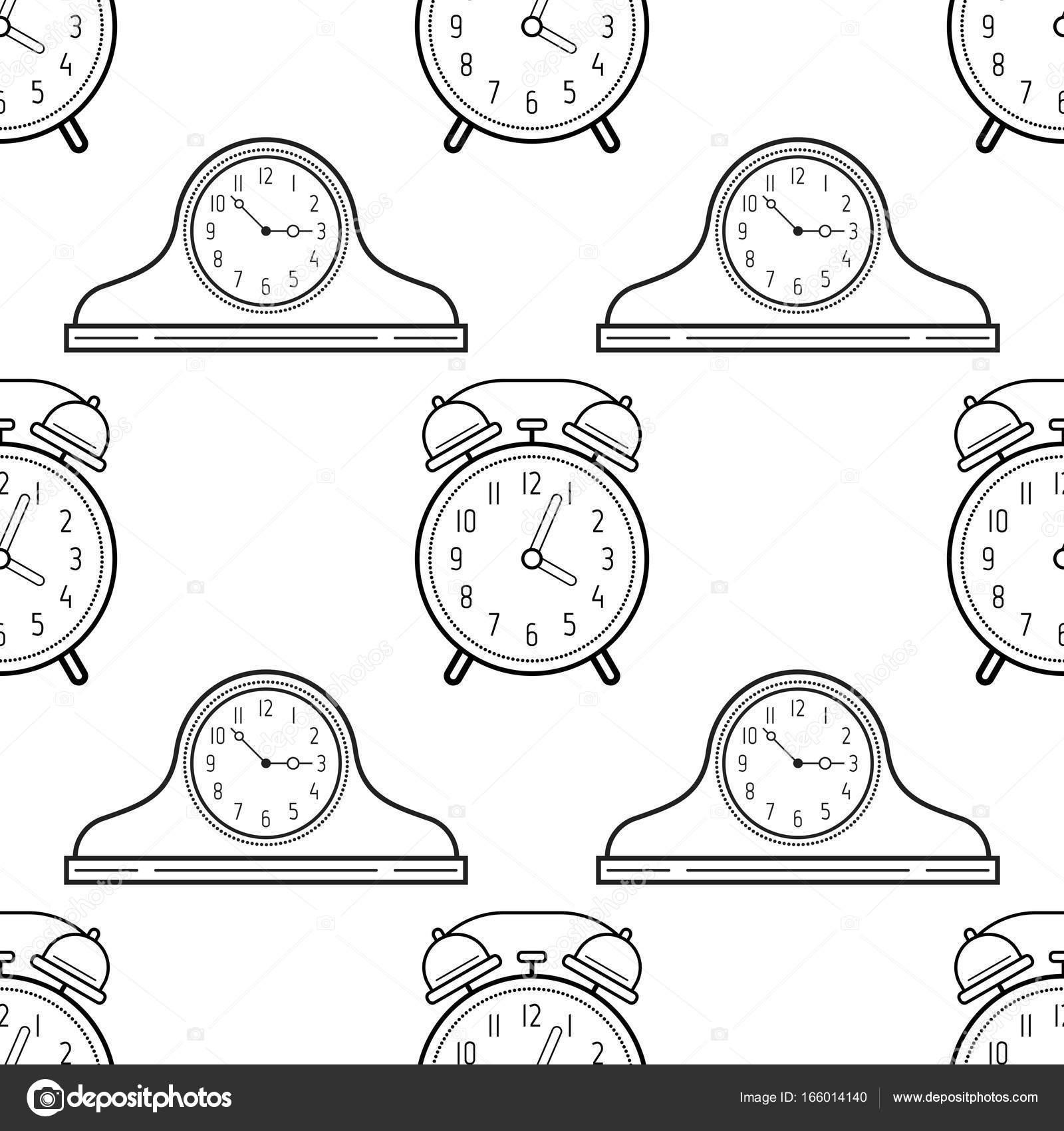 Gratis Kleurplaten Klokken.Wekker En Schoorsteenmantel Klokken De Naadloze Patroon Zwart Wit
