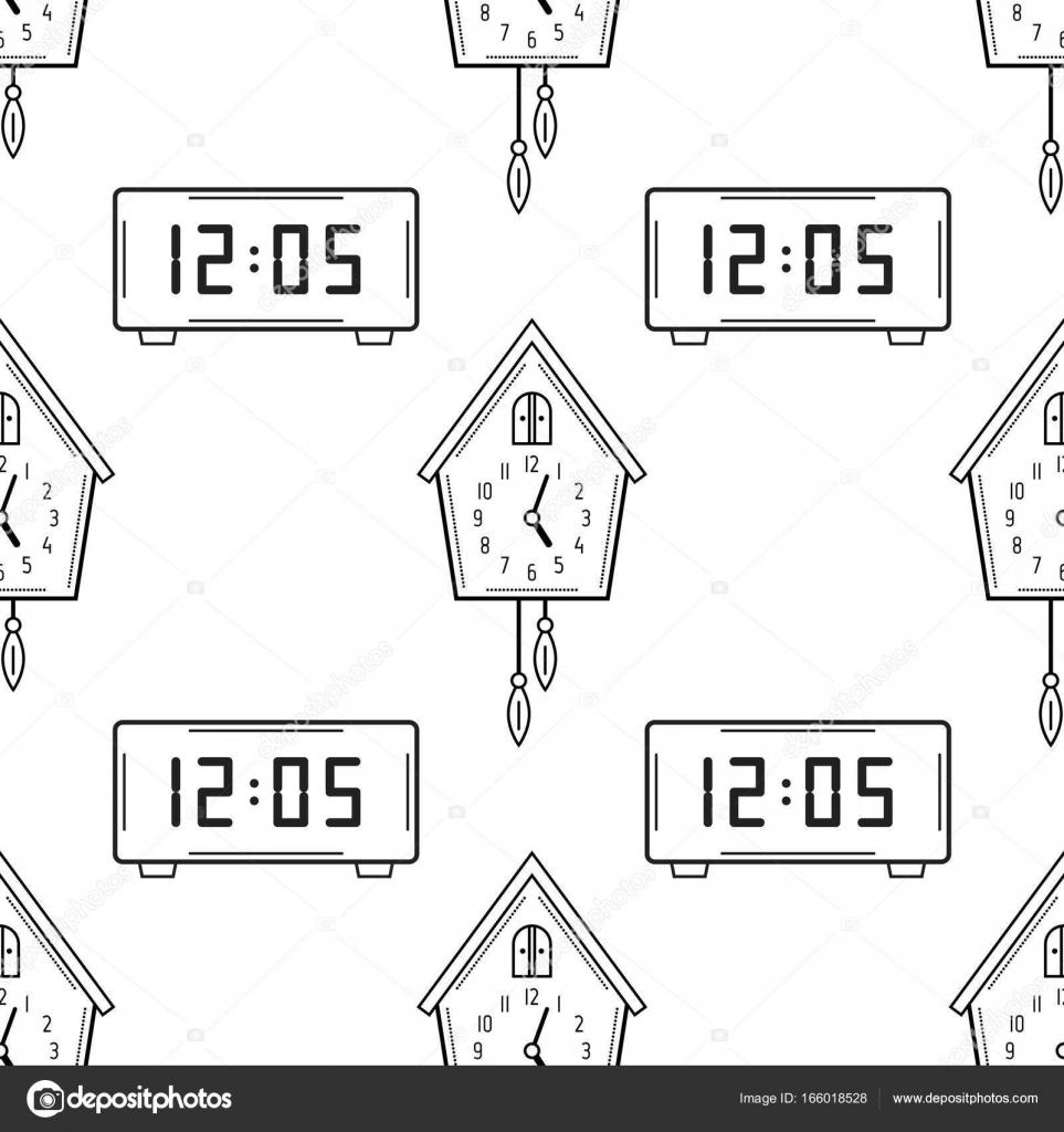 Elektronische Horloge En Koekoeksklok De Naadloze Patroon Zwart Wit