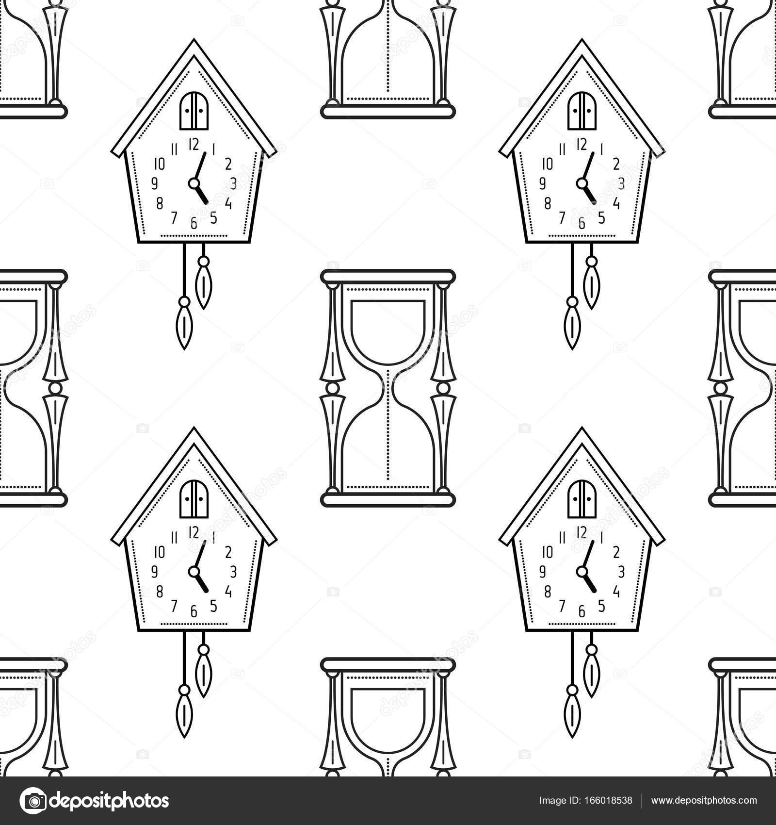 Imágenes Cuco Para Colorear Reloj De Arena Y El Reloj De