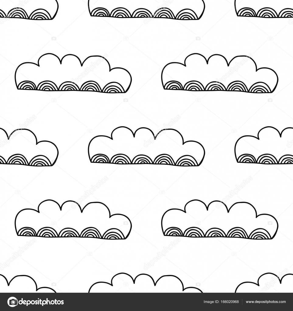 Nubes decorativas. Ilustración blanco y negro, de patrones sin ...