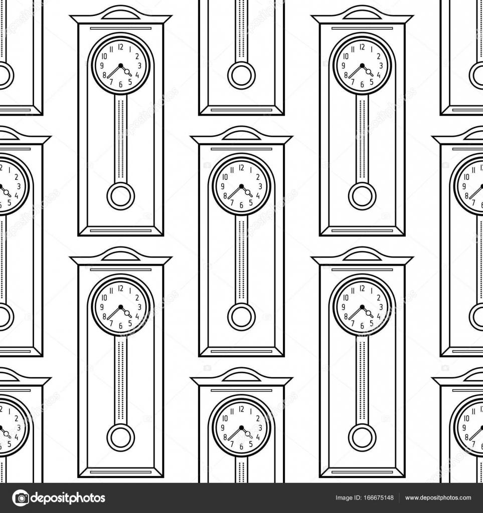 Reloj de abuelo. Blanco y negro de patrones sin fisuras para libros ...