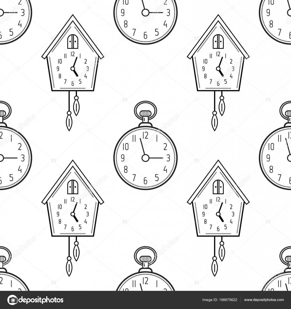 Cep Saati Ve Guguklu Saat Boyama Kitapları Sayfaları Için Seamless