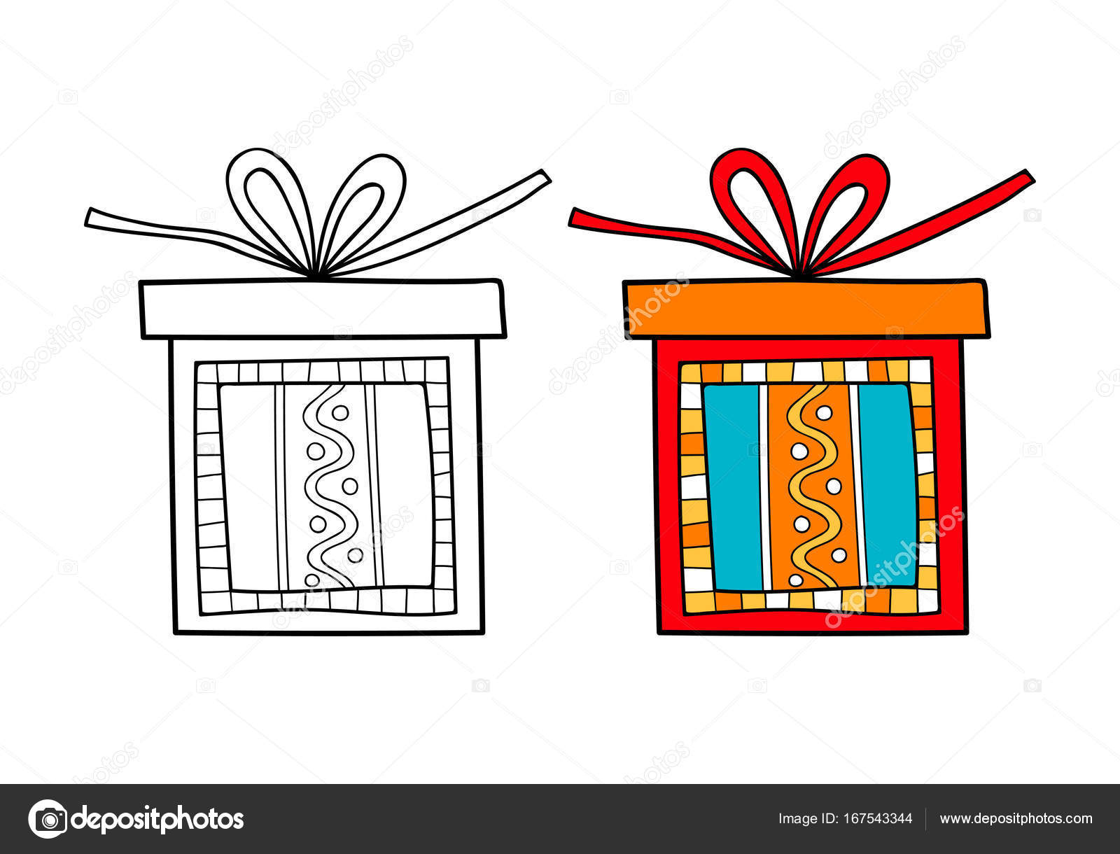 Decorative Gift Box With A Surprise Black And White Illustration