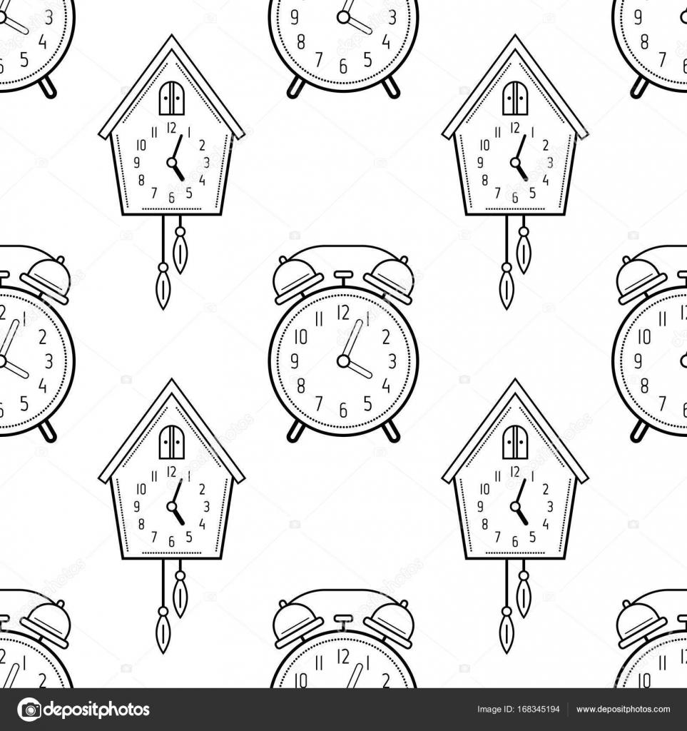 a17cb7c87a88 Ξυπνητήρι και ρολόι κούκων. Μαύρο και άσπρο χωρίς ραφή πρότυπο για ...