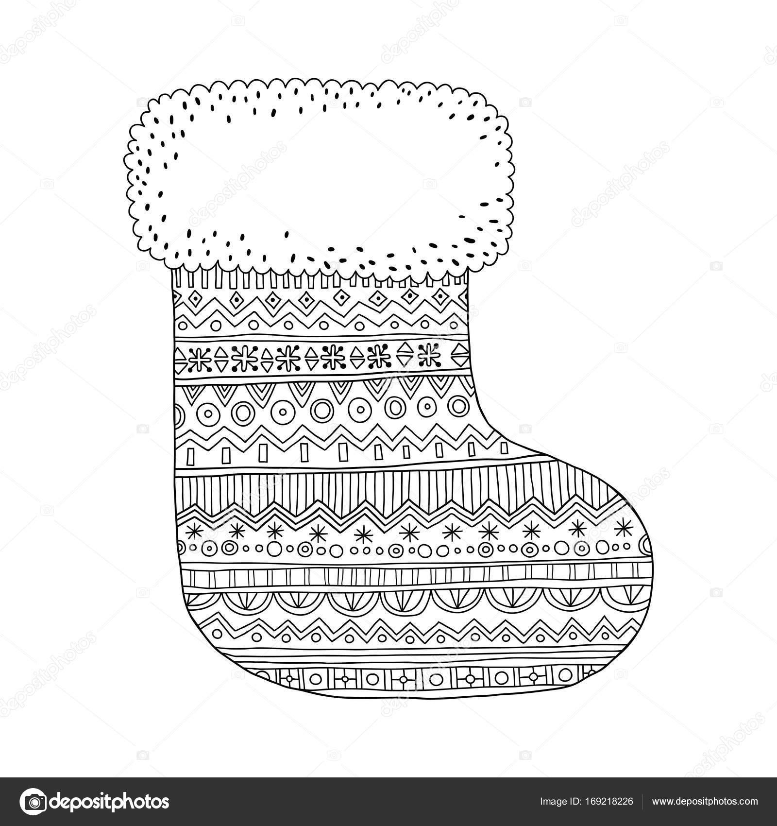 Weihnachts-Strumpf für Geschenke. Schwarz und weiß-Abbildung für ...