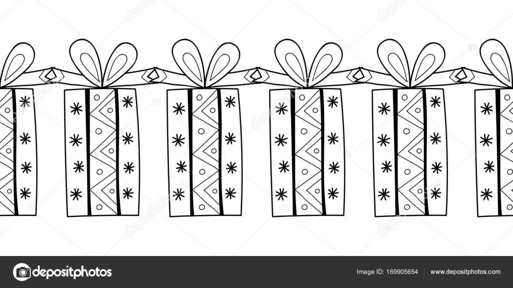 Decorative gift boxes. Black and white illustration for coloring ...