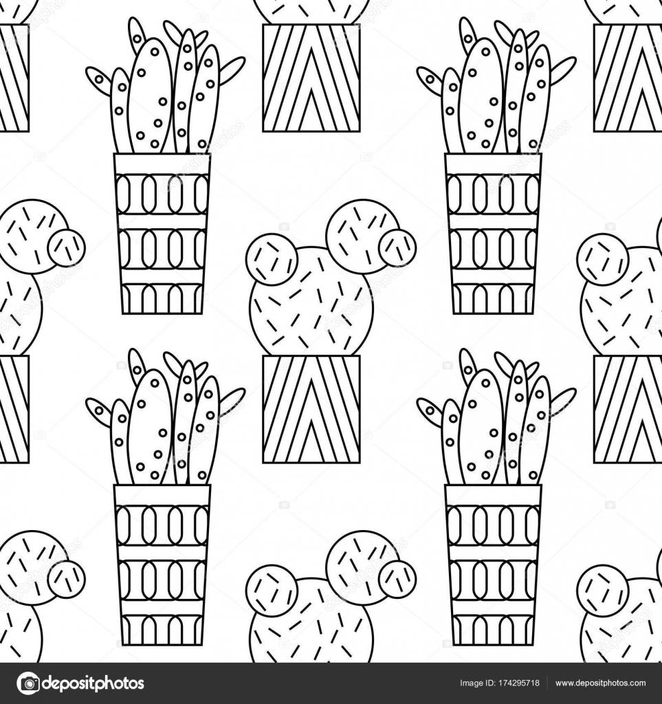 Blanco y negro de patrones sin fisuras de cactus y suculentas para ...