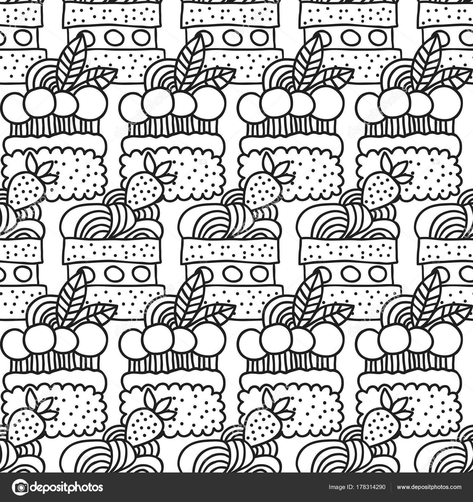 Kuchen und Cupcakes. Schwarz / weiß nahtlose Muster für die ...