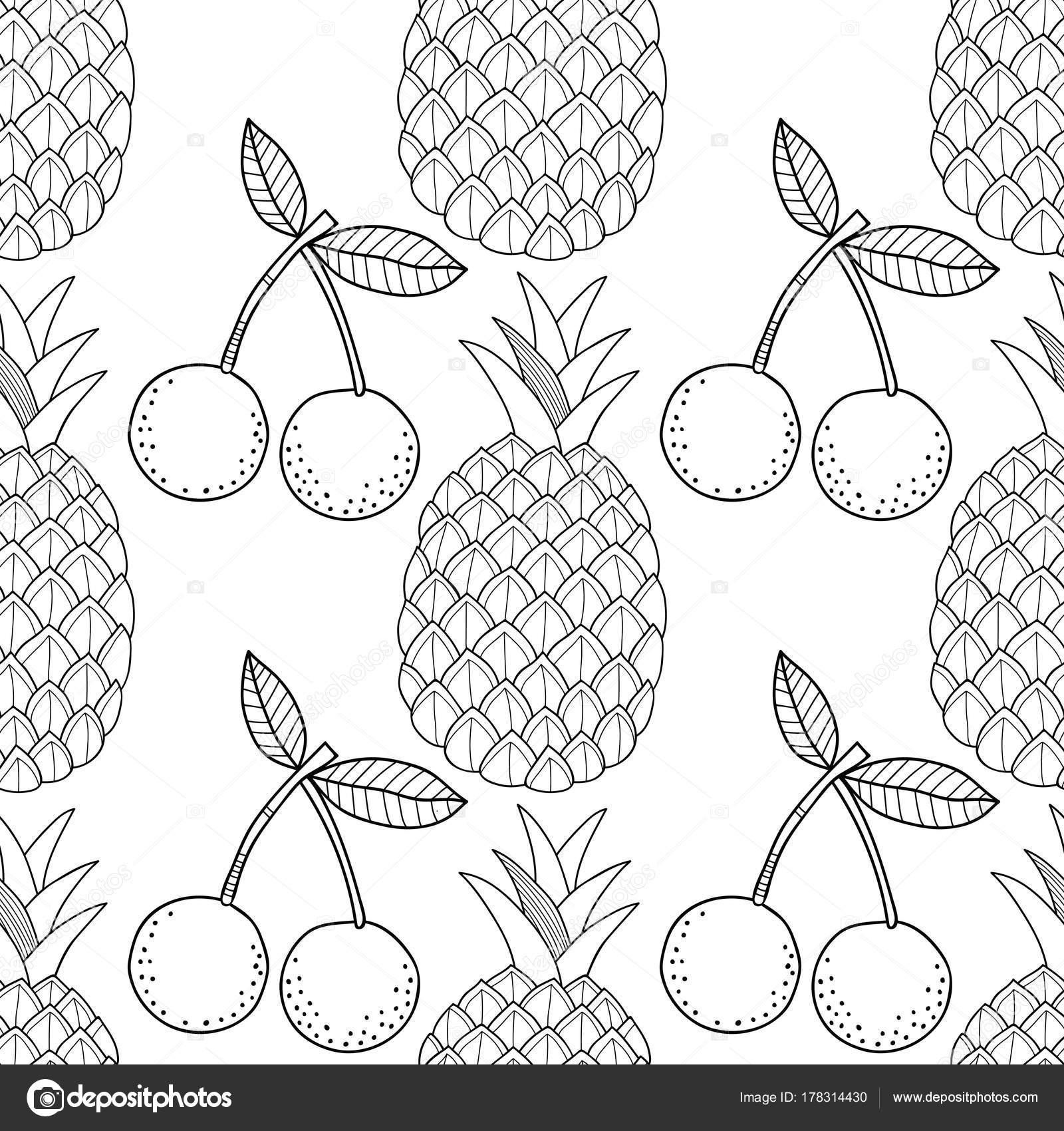 Ananas Ve Kiraz El Ile Seamless Modeli Meyve çizilmiş Siyah Beyaz