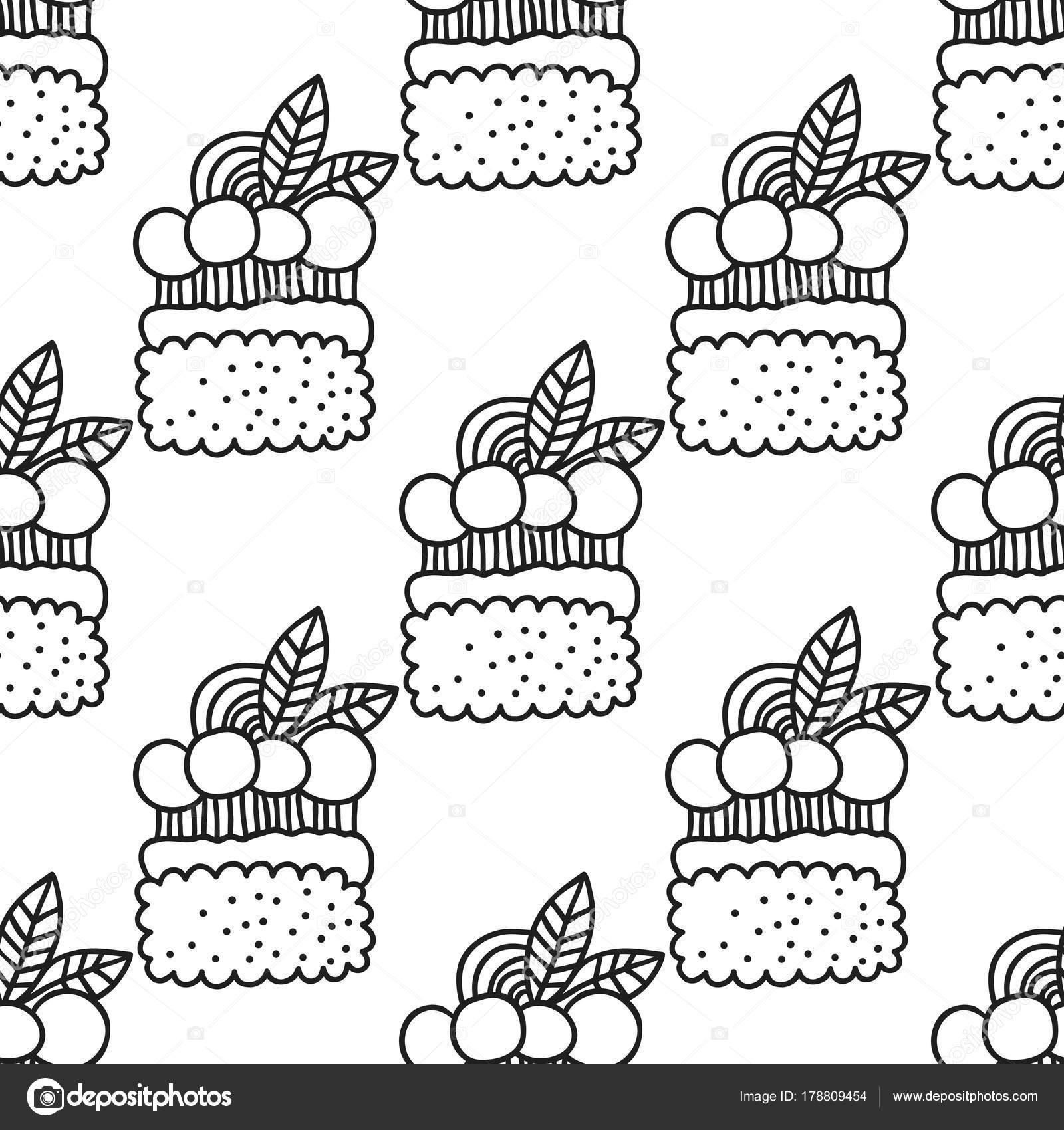 Tortas y cupcakes. Blanco y negro para colorear libros o páginas de ...