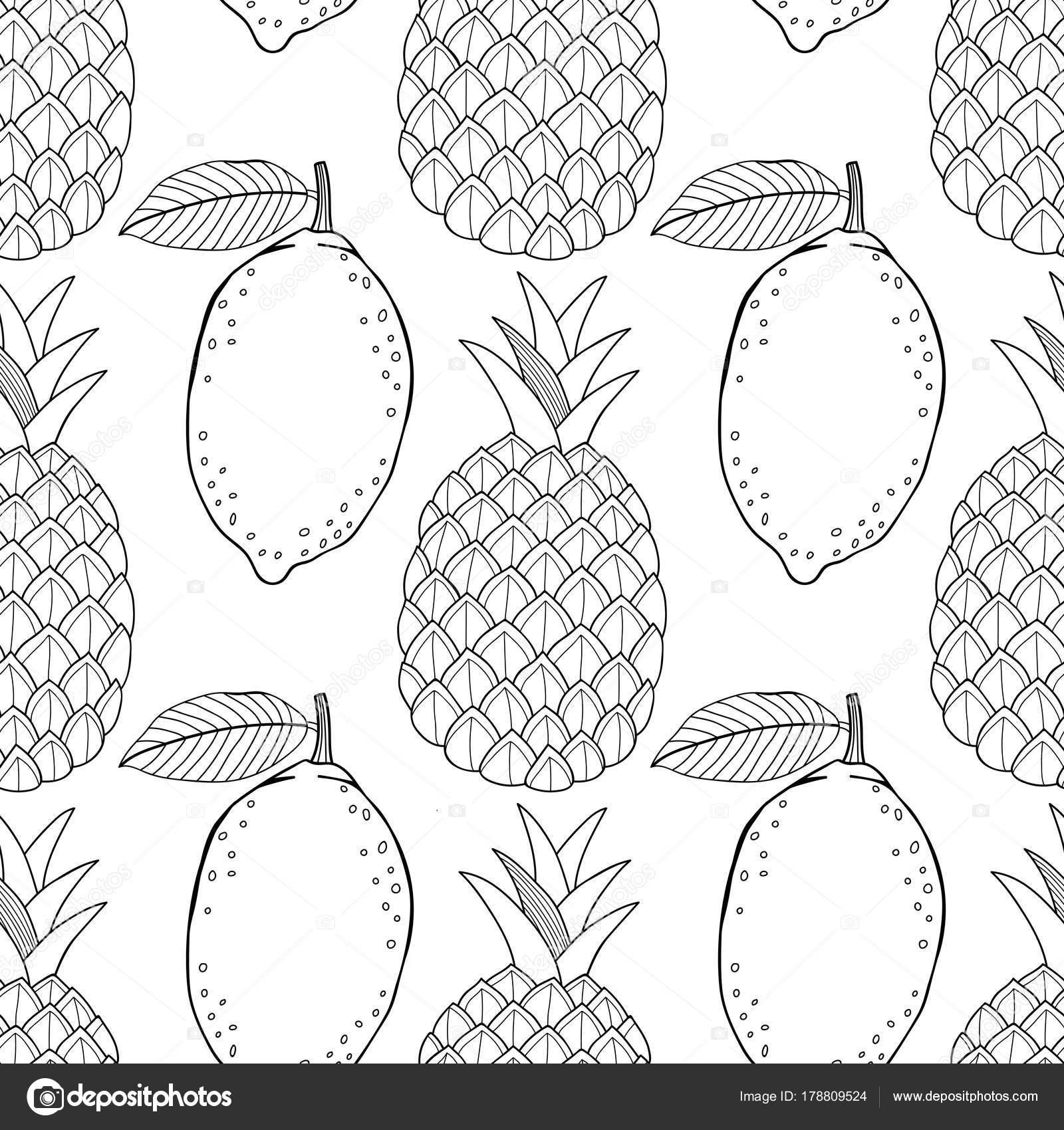 Ananas Ve Limon El Ile Seamless Modeli Meyve çizilmiş Siyah Beyaz