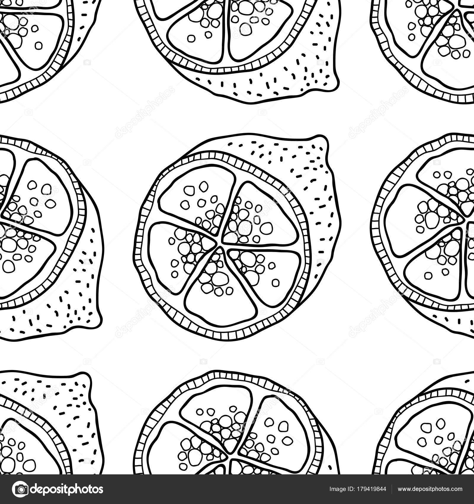 Scheiben von Zitronen. Nahtloses Muster mit Hand gezeichnet Früchte ...