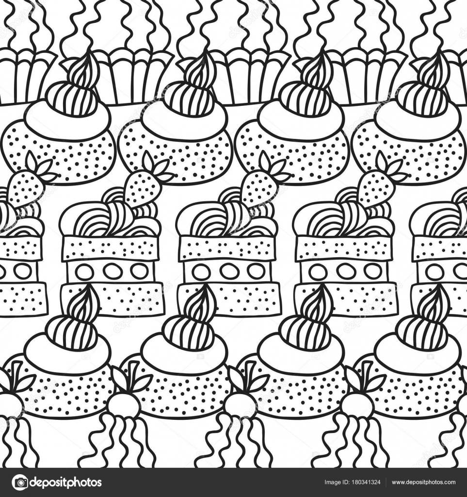 Kuchen und Cupcakes. Schwarz / weiß nahtlose Muster für die Färbung ...