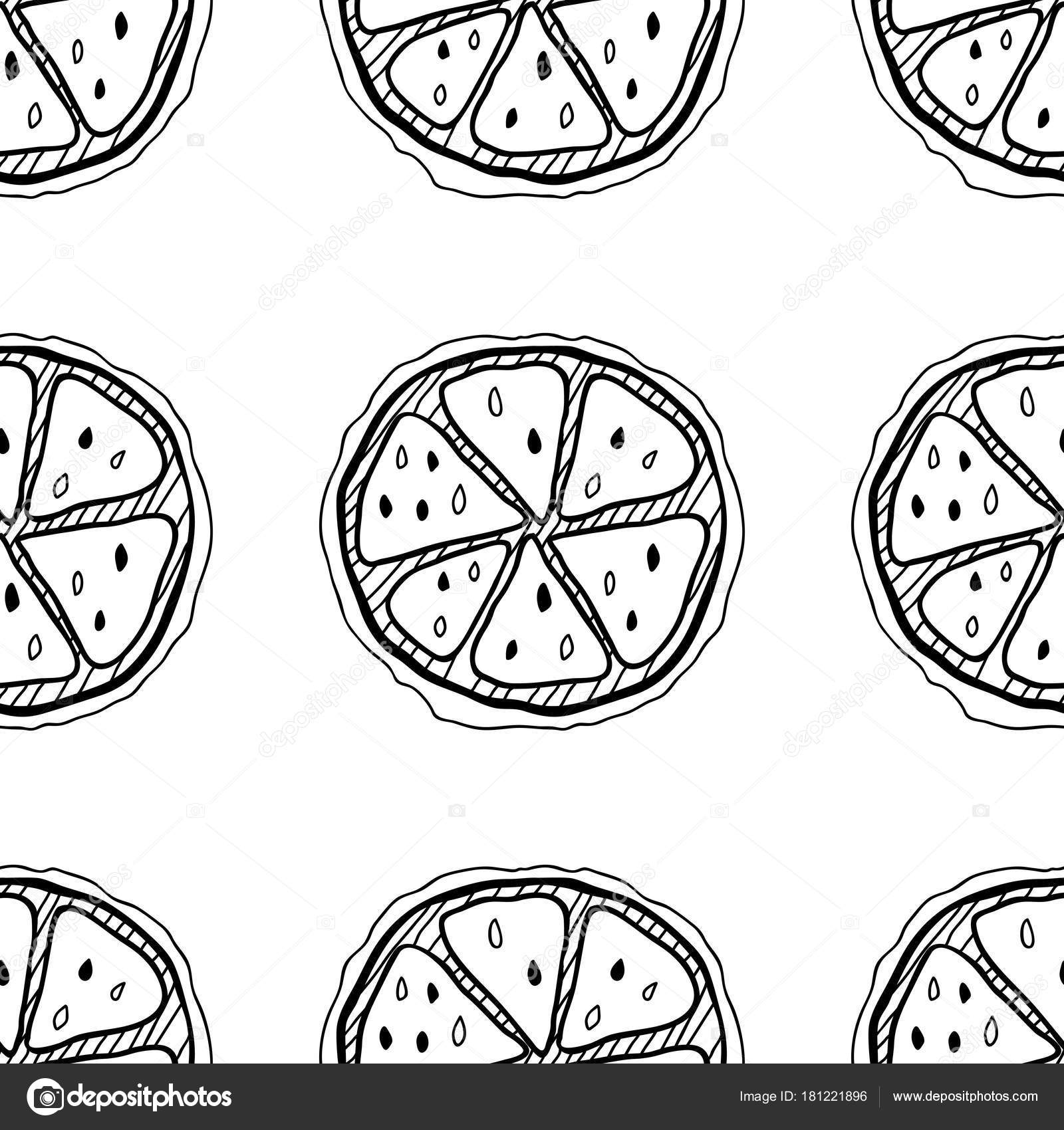 Slices Of Lemons Seamless Pattern With Hand Drawn Fruits Black