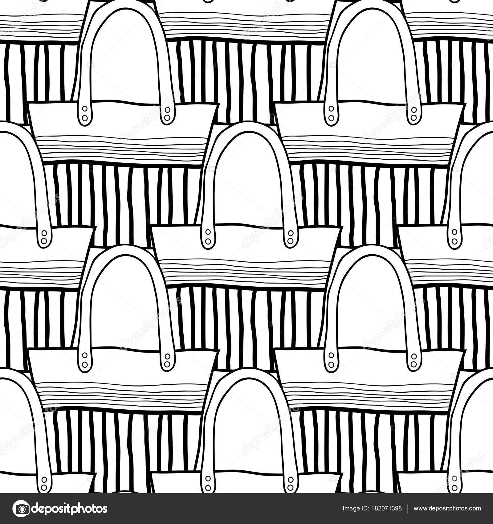Bolsos de moda. Blanco y negro de patrones sin fisuras de bolsas ...