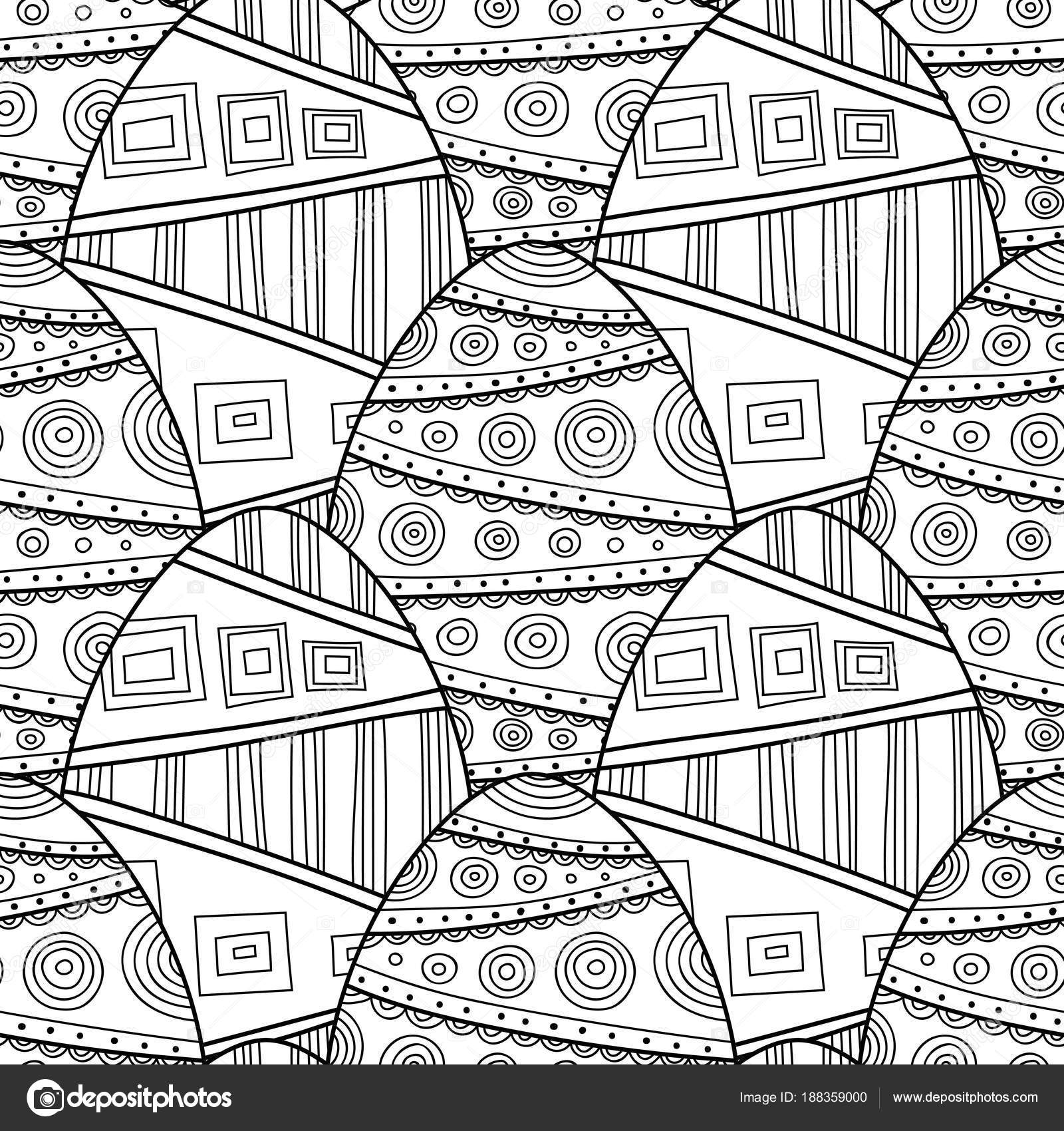 Huevos de Pascua. Blanco y negro de patrones sin fisuras para libros ...