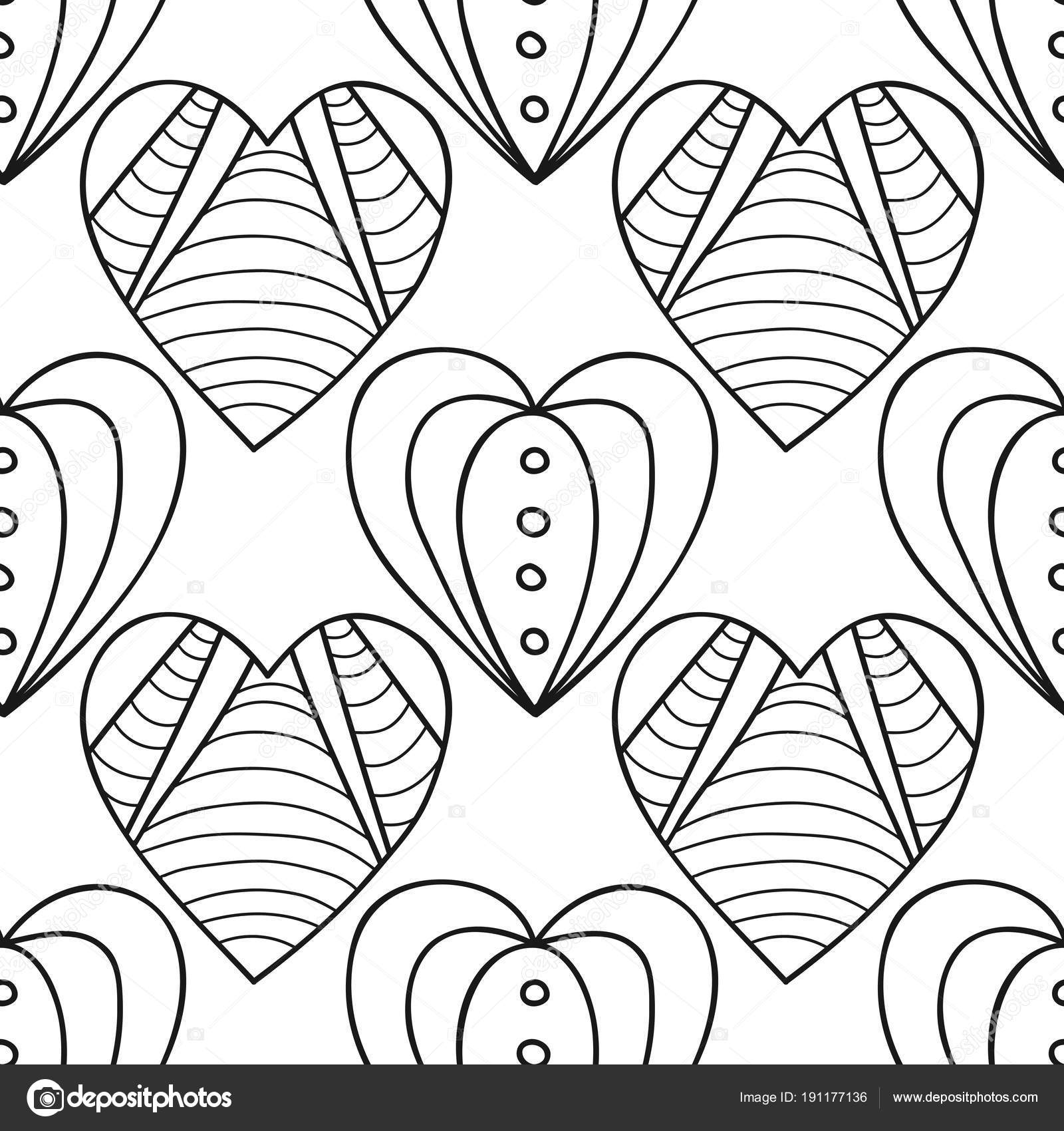 Kalpler Boyama Kitabı Için Siyah Ve Beyaz Dekoratif Seamless Modeli
