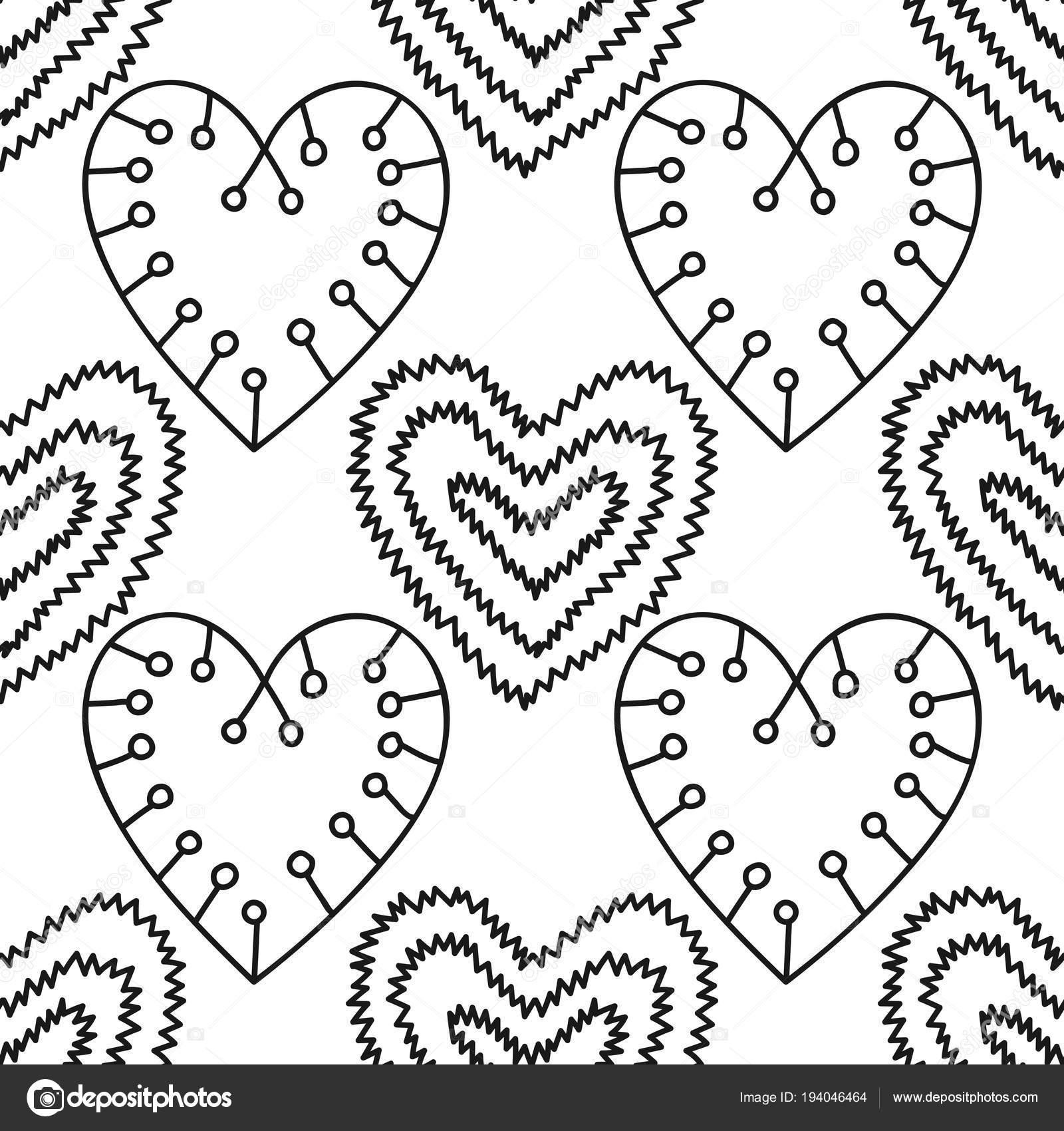 Corazones. Blanco y negro decorativo de patrones sin fisuras para ...