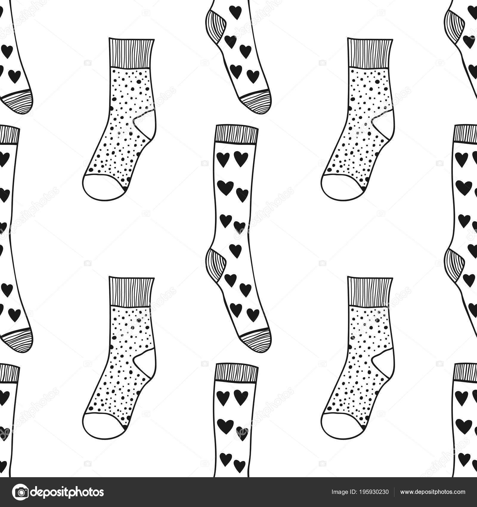 çorap Kitap Sayfa Boyama Için Seamless Modeli Siyah Beyaz örme