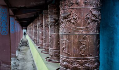 Buddhist temple prayer wheels