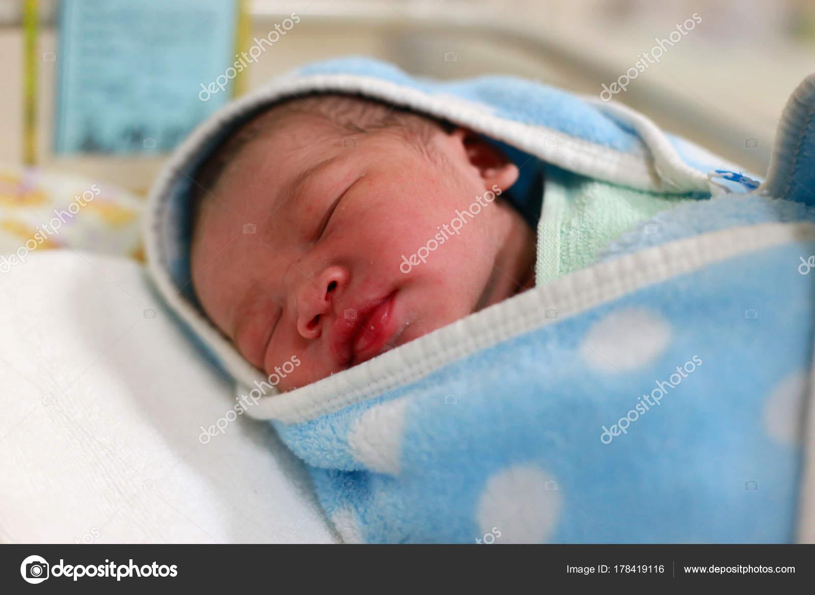 Newborn Baby Boy Wrapped Blanket Hospital Stock Photo