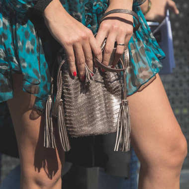Detail of bag at Milan Women's Fashion Week