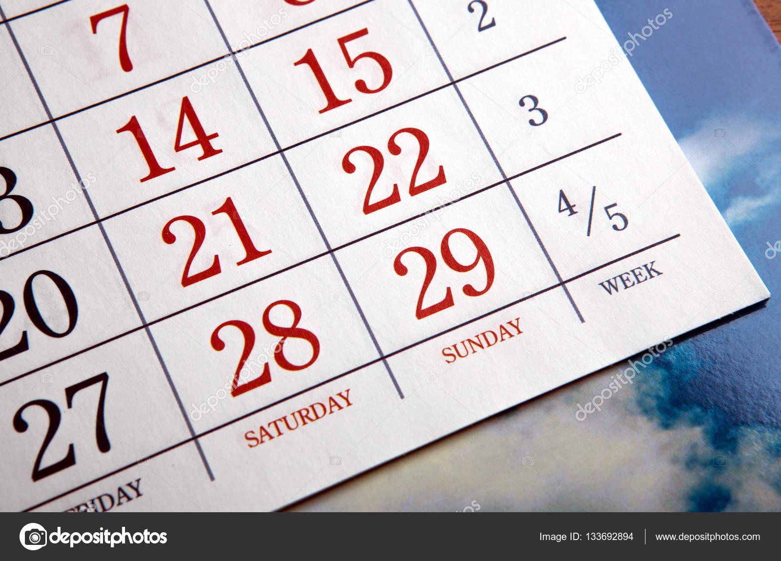 Calendario Con Numero Giorni.Giorni Di Calendario Con Numeri Da Vicino Foto Stock