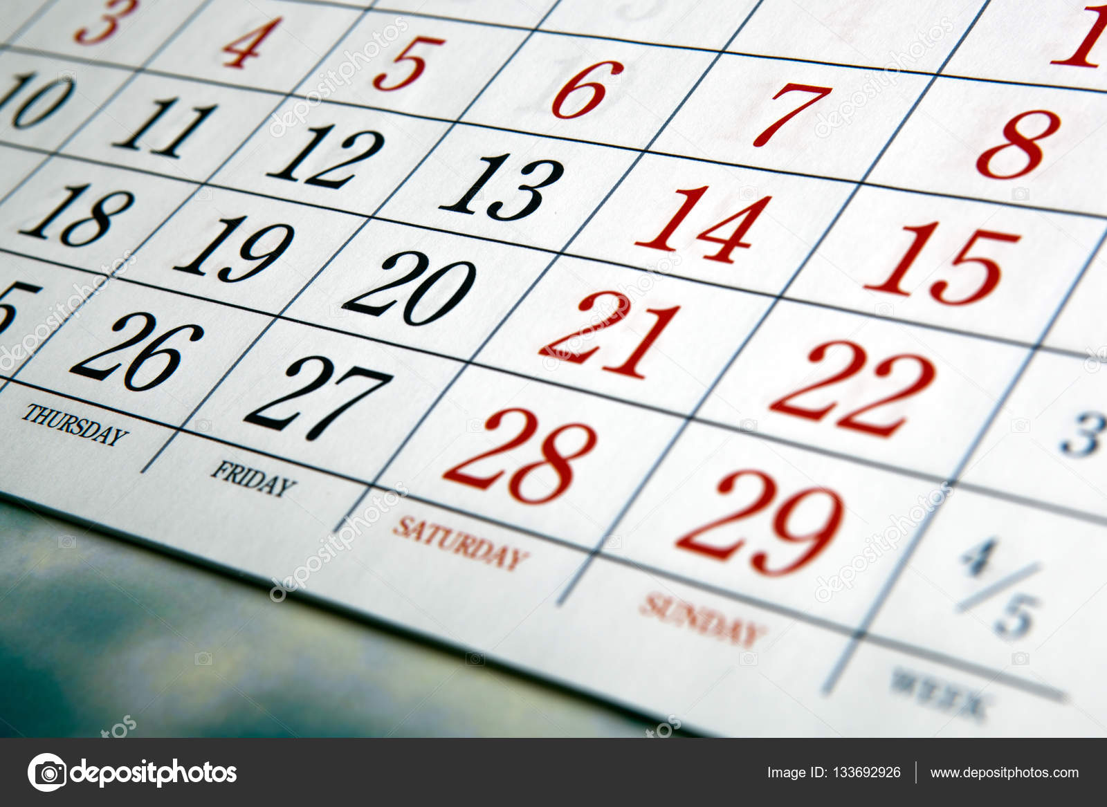Calendario Con Numero Giorni.Giorni Di Calendario Bianco Con Numeri Foto Stock